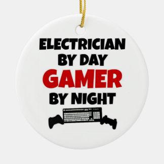 Électricien par le Gamer de jour par nuit Ornement Rond En Céramique