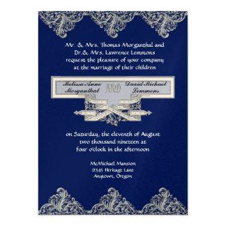 Élégance 3 de cravate noire - damassé argentée de carton d'invitation  13,97 cm x 19,05 cm
