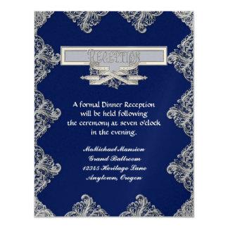 Élégance 3 de cravate noire - damassé argentée de carton d'invitation 10,79 cm x 13,97 cm