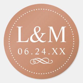 Élégance classique de cuivre du monogramme | de sticker rond
