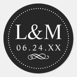 Élégance classique noire du monogramme | de sticker rond