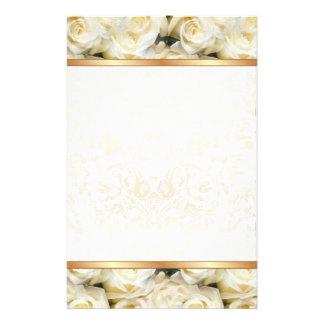Élégance de rose blanc papier à lettre personnalisé