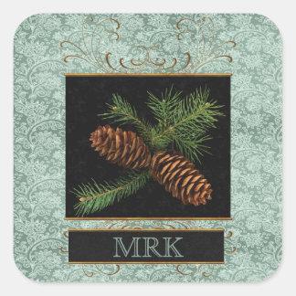 Élégance décorée d'un monogramme avec des cônes de sticker carré