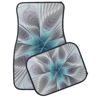 Élégance, fleur bleue moderne de fractale de blanc tapis de sol