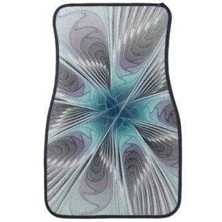 Élégance, fleur bleue moderne de fractale de blanc tapis de voiture
