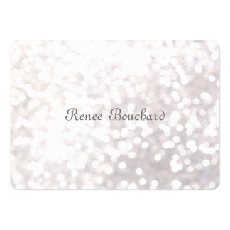 Élégant chic de Bokeh de scintillement blanc doux Carte De Visite Grand Format