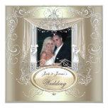 Élégant fleuri d'argent de menthe d'or de mariage cartons d'invitation