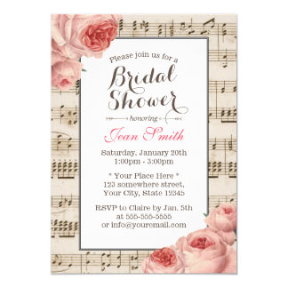 Élégant floral rose vintage de douche nuptiale carton d'invitation  12,7 cm x 17,78 cm