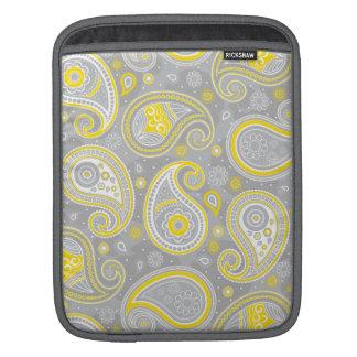 Élégant jaune et gris de motif de Paisley Poches iPad