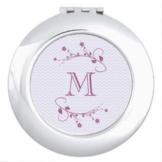 Élégant monograma avec chevrón et fleurs violette miroir de poche