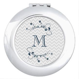 Élégant monograma de fleurs bleu marin et chevrón miroir compact