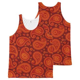 Élégant rouge de rouge foncé de motif de Paisley Débardeur Tout-imprimé