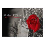 Élégant se fanent le mariage noir et blanc de rose invitations personnalisées