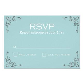 Elegant slate and blue RSVP card Custom Invitation