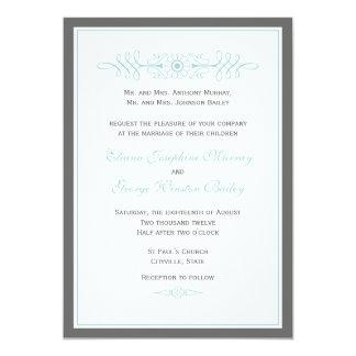 Elegant Slate and Blue Wedding Invitation