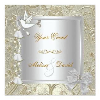 Élégant toute damassé de colombe de blanc d'argent carton d'invitation  13,33 cm