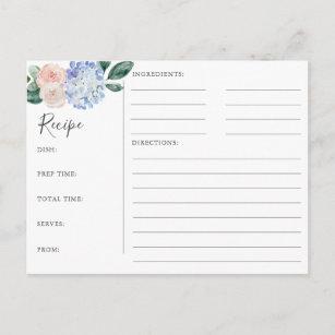 Elégante carte de recette Fête de l'mariée Blue