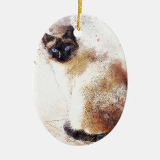 Éléments d'abrégé sur chat siamois ornement ovale en céramique