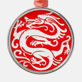 éléments de la Chine de porcelaine de dragon Ornement Rond Argenté