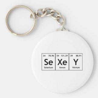 Éléments de mots de Tableau périodique de chimie Porte-clé Rond