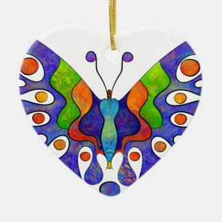 Elenissina - papillon coloré ornement cœur en céramique