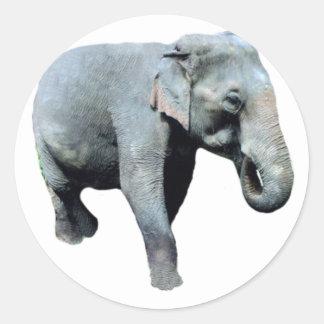 Éléphant 1p de l Indochine laissé Autocollant Rond