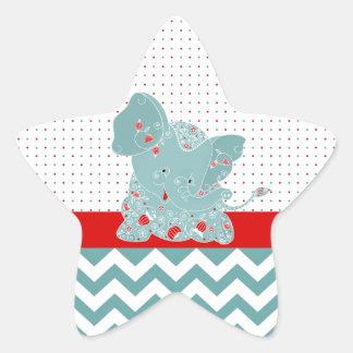 Éléphant à la mode adorable mignon de bébé de stickers en étoile