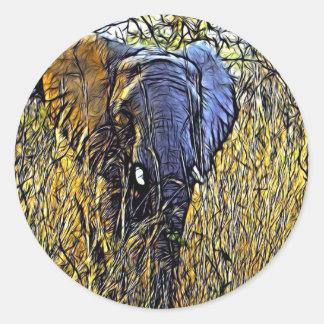 Éléphant africain d'art animal sauvage de safari sticker rond