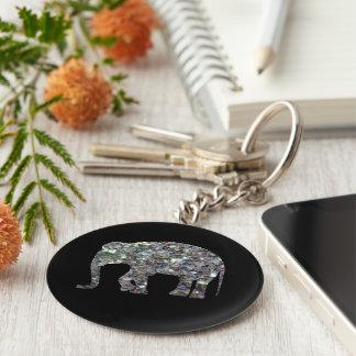Éléphant argenté coloré scintillant de mosaïque de porte-clé rond