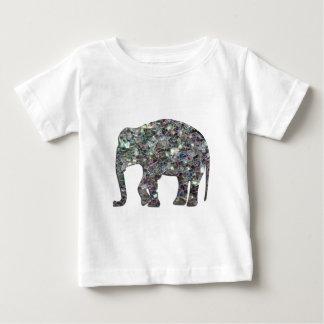 Éléphant argenté coloré scintillant de mosaïque de t-shirt pour bébé