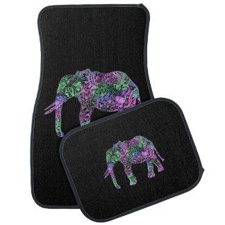éléphant au néon floral tribal coloré minimaliste tapis de voiture