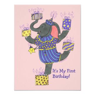 Éléphant avec de présents l'invitation carton d'invitation 10,79 cm x 13,97 cm