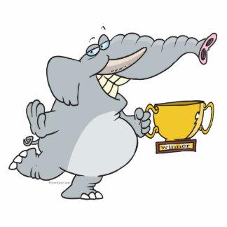 éléphant avec la bande dessinée de trophée de gagn découpage en acrylique