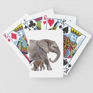 Éléphant avec l'éléphant de bébé jeux de cartes