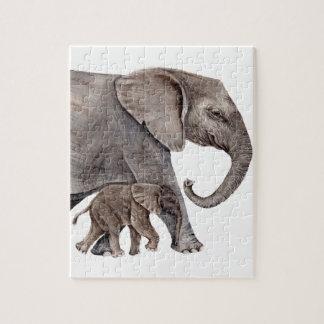 Éléphant avec l'éléphant de bébé puzzle