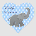 éléphant bleu de baby shower autocollant en cœur