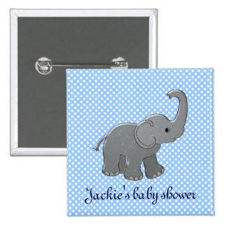 éléphant bleu de baby shower badge carré 5 cm
