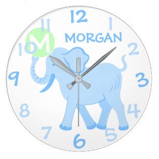 Éléphant bleu de bande dessinée de crèche de bébé grande horloge ronde