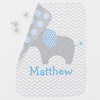 Éléphant bleu mignon de Chevron Couvertures De Bébé