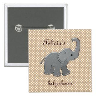 éléphant brun de baby shower badge carré 5 cm