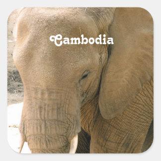 Éléphant cambodgien sticker carré