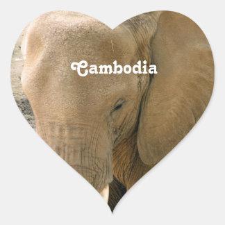 Éléphant cambodgien sticker cœur