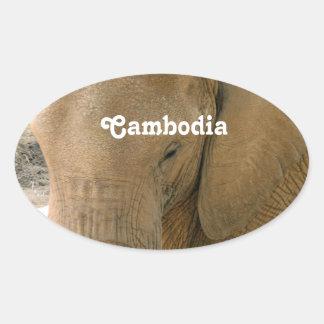 Éléphant cambodgien sticker ovale