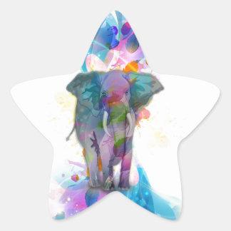éléphant coloré mignon d'éclaboussures de couleurs sticker en étoile