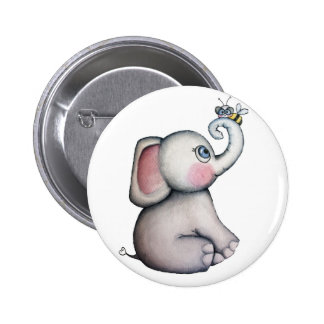 Éléphant de bébé avec le bouton d'amitié d'abeille badge