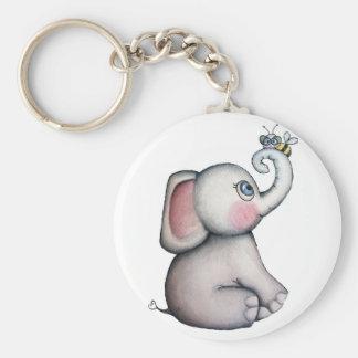 Éléphant de bébé avec le porte - clé d'abeille porte-clé rond