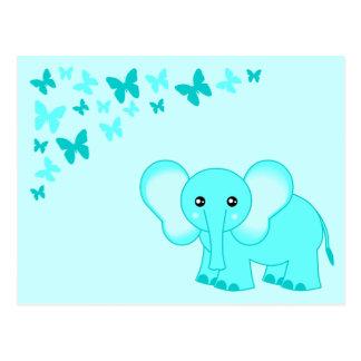 Éléphant de bébé bleu et carte postale mignons de