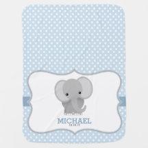 Éléphant de bébé (bleu) personnalisé couverture de bébé