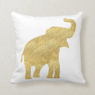 éléphant de bébé de regard de scintillement d'or coussin décoratif