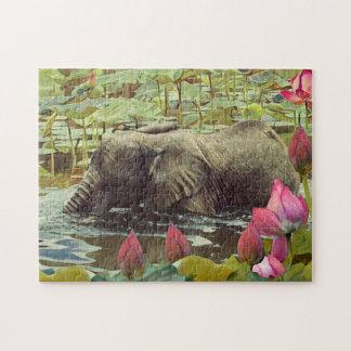 Éléphant de bébé et fleurs de Lotus Puzzles